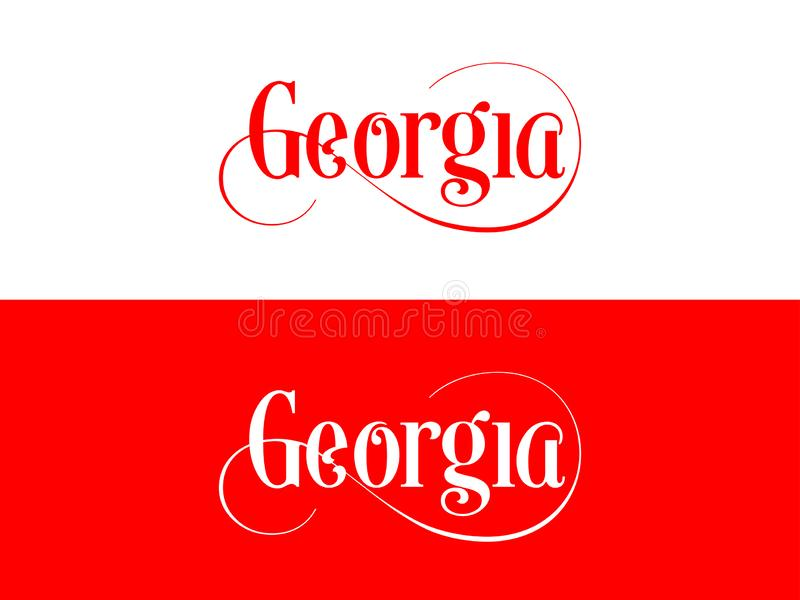 Typography of The USA Georgia States Handwritten Illustration on Official U.S. State Colors vector illustration