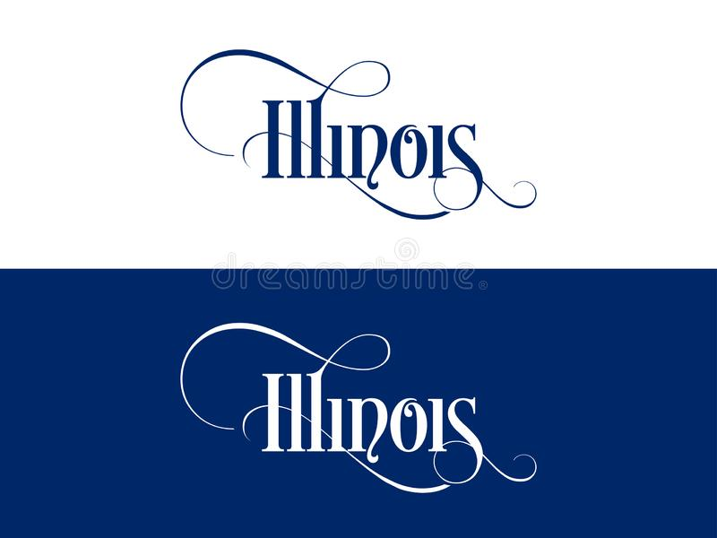 Typography of The USA Illinois States Handwritten Illustration on Official U.S. State Colors royalty free illustration