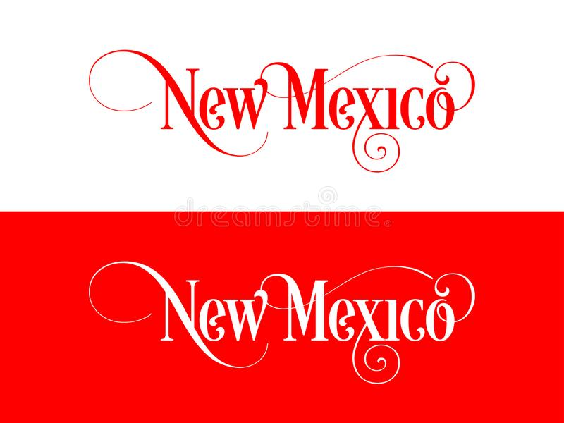 Typography of The USA New Mexico States Handwritten Illustration on Official U.S. State Colors royalty free illustration