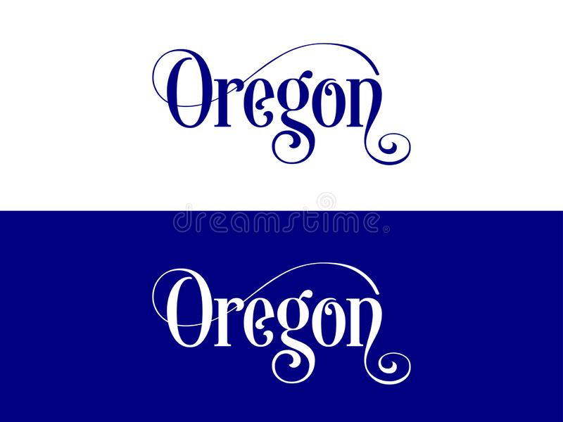 Typography of The USA Oregon States Handwritten Illustration on Official U.S. State Colors stock illustration