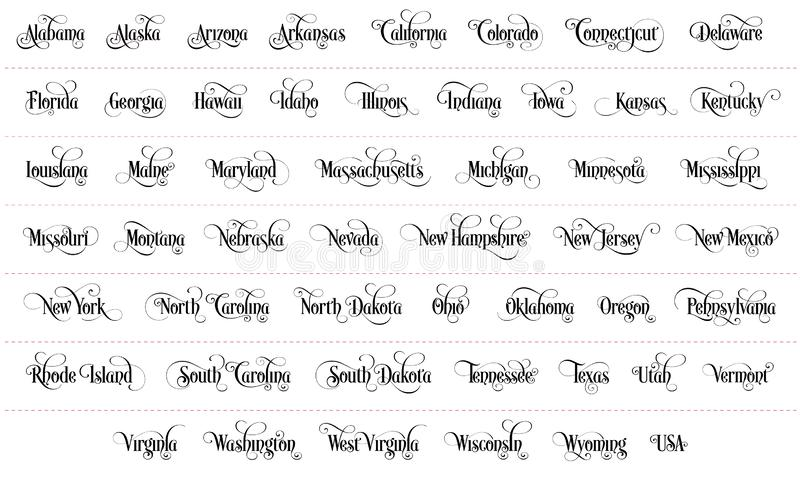 Typography of The USA States All Name Black Handwritten Illustration on White Background vector illustration