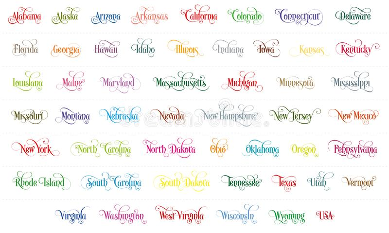 Typography of The USA States All Name Colorful Handwritten Illustration on White Background royalty free illustration