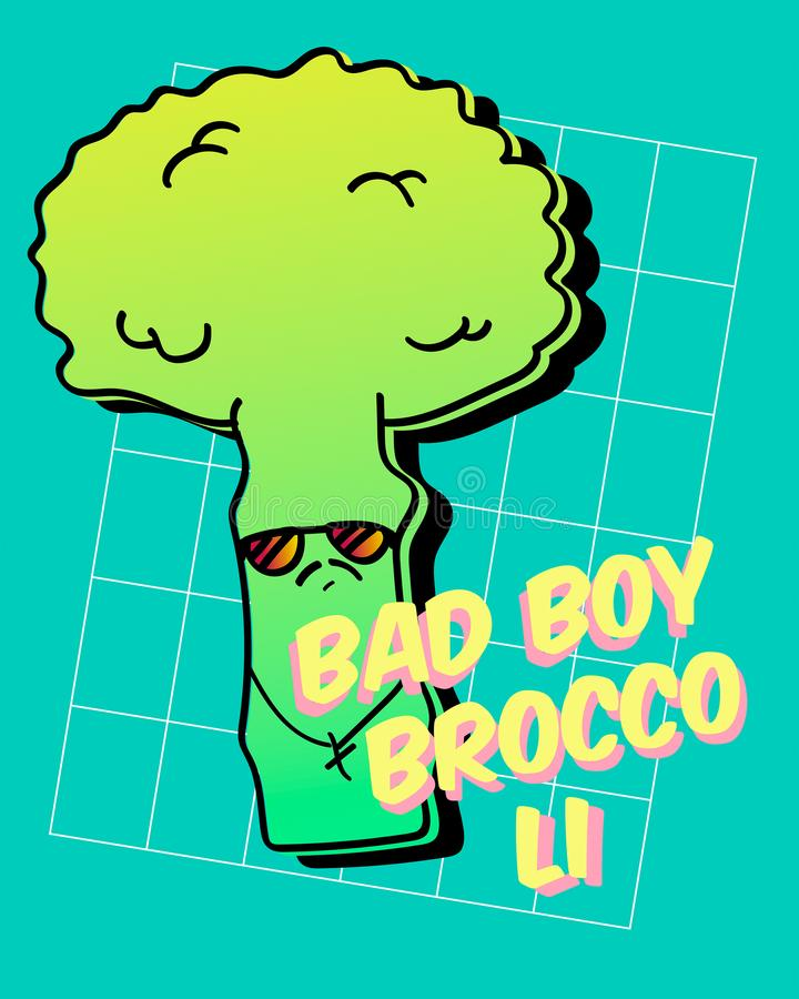 Typography vector illustration with funny broccoli. For t shirt printing, graphic tee and printed tee. stock image