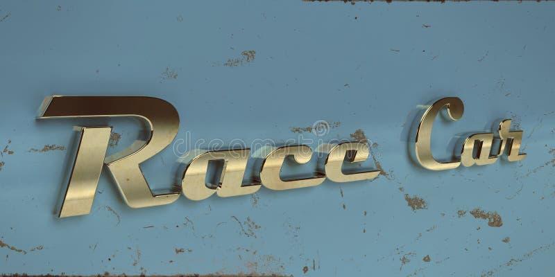 Typography velho do cromo do carro de corridas do vintage ilustração stock