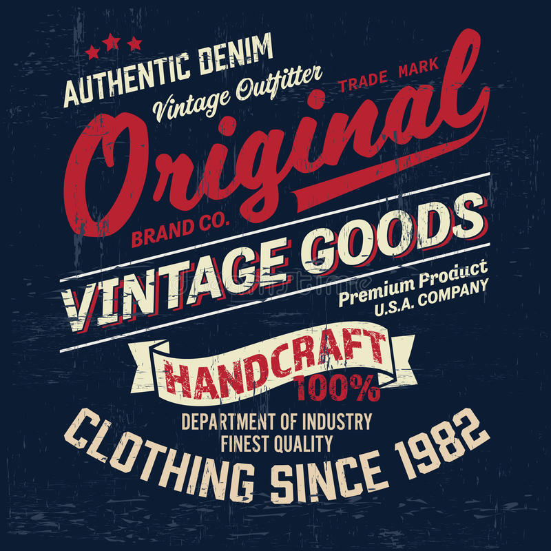 Typography vintage denim brand logo print for t-shirt. Retro illustration vector illustration