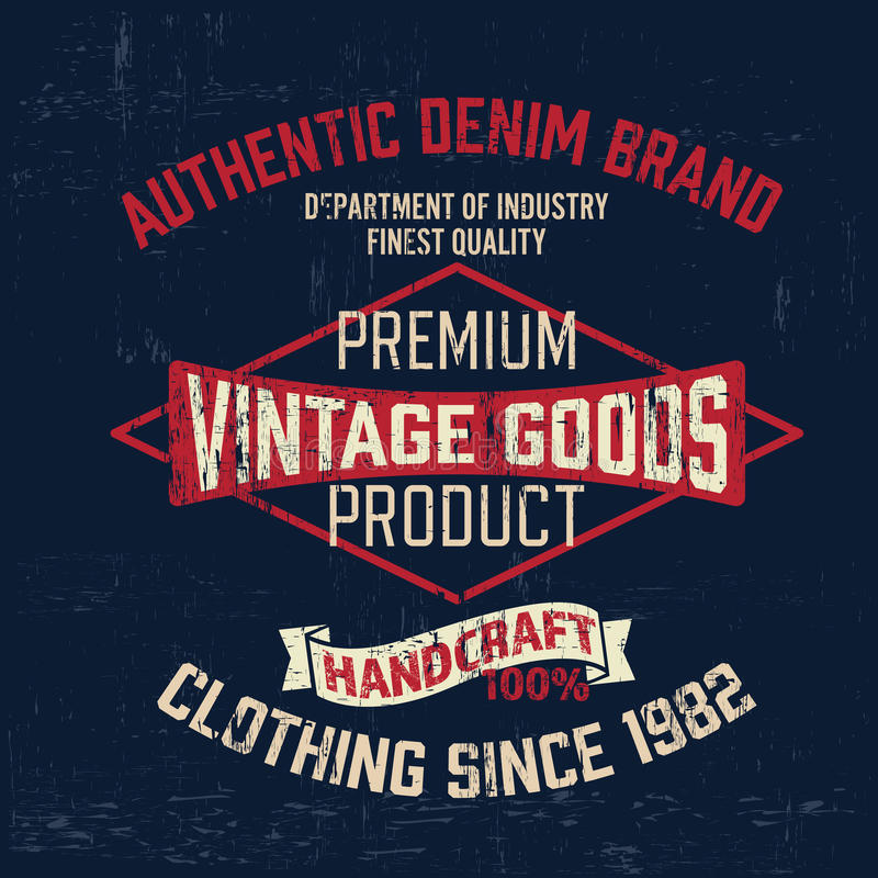 Typography vintage denim outfit brand logo print for t-shirt. Retro artwork vector illustration royalty free illustration