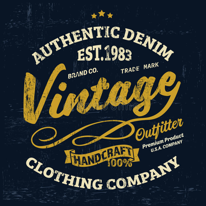 Typography vintage outfit brand logo print for t-shirt. Retro illustration royalty free illustration