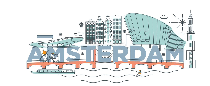 Typography word `Amsterdam` branding technology concept. stock illustration