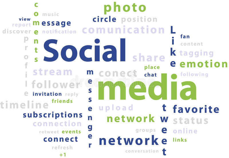 Download Typography Word Cloud Tags Of Social Media Stock Illustration - Image: 23803933