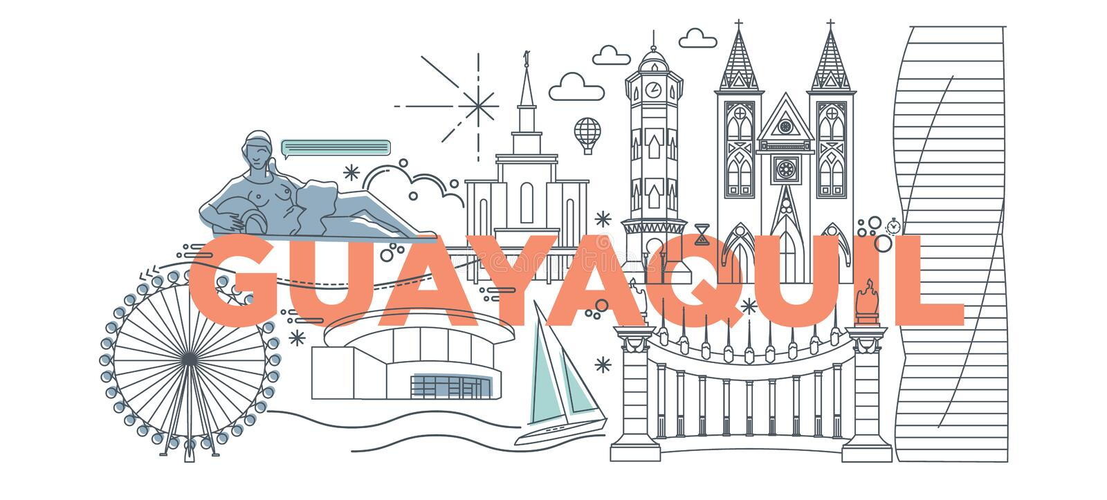 Typography word Guayaquil vector illustration. Typography word Guayaquil branding technology concept. Collection of flat vector web icons. Ecuador culture travel stock illustration
