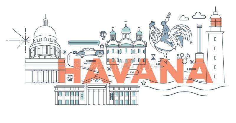 Typography word Havana vector illustration. Typography word Havana branding technology concept. Collection of flat vector web icons. Cuban culture travel set stock illustration