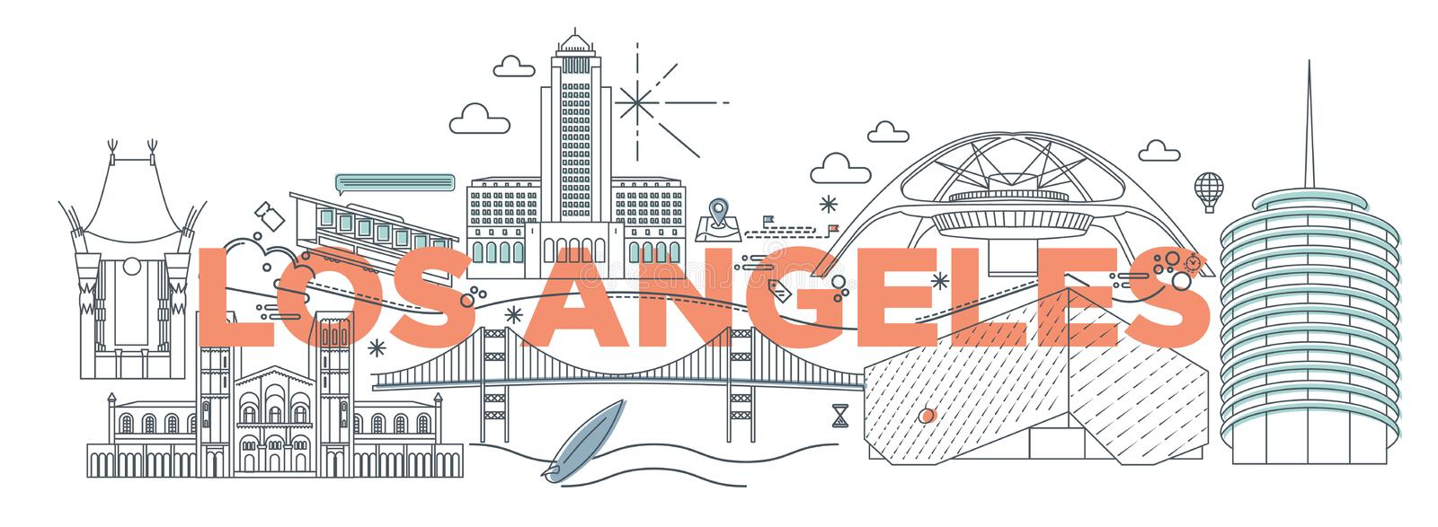 Typography word Los Angeles vector illustration. Typography word Los Angeles branding technology concept. Collection of flat vector web icons. American culture royalty free illustration