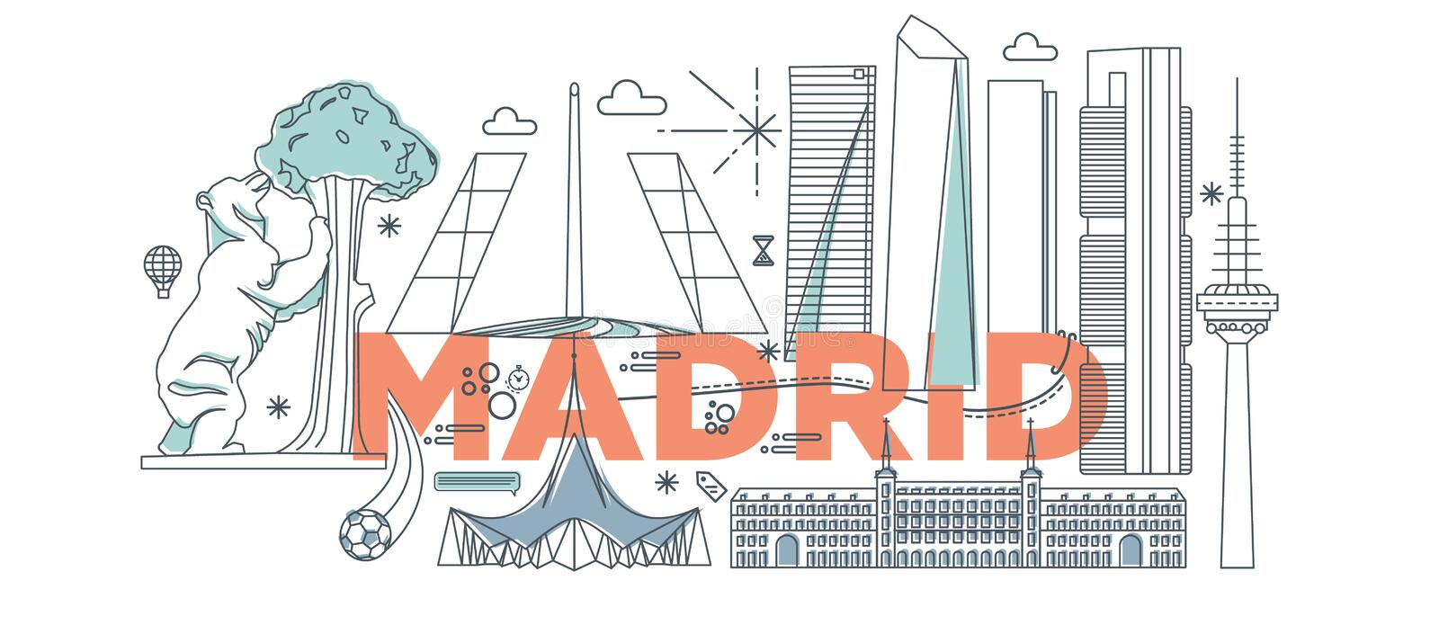 Typography word Madrid vector illustration. Typography word Madrid branding technology concept. Collection of flat vector web icons. Spain culture travel set royalty free illustration