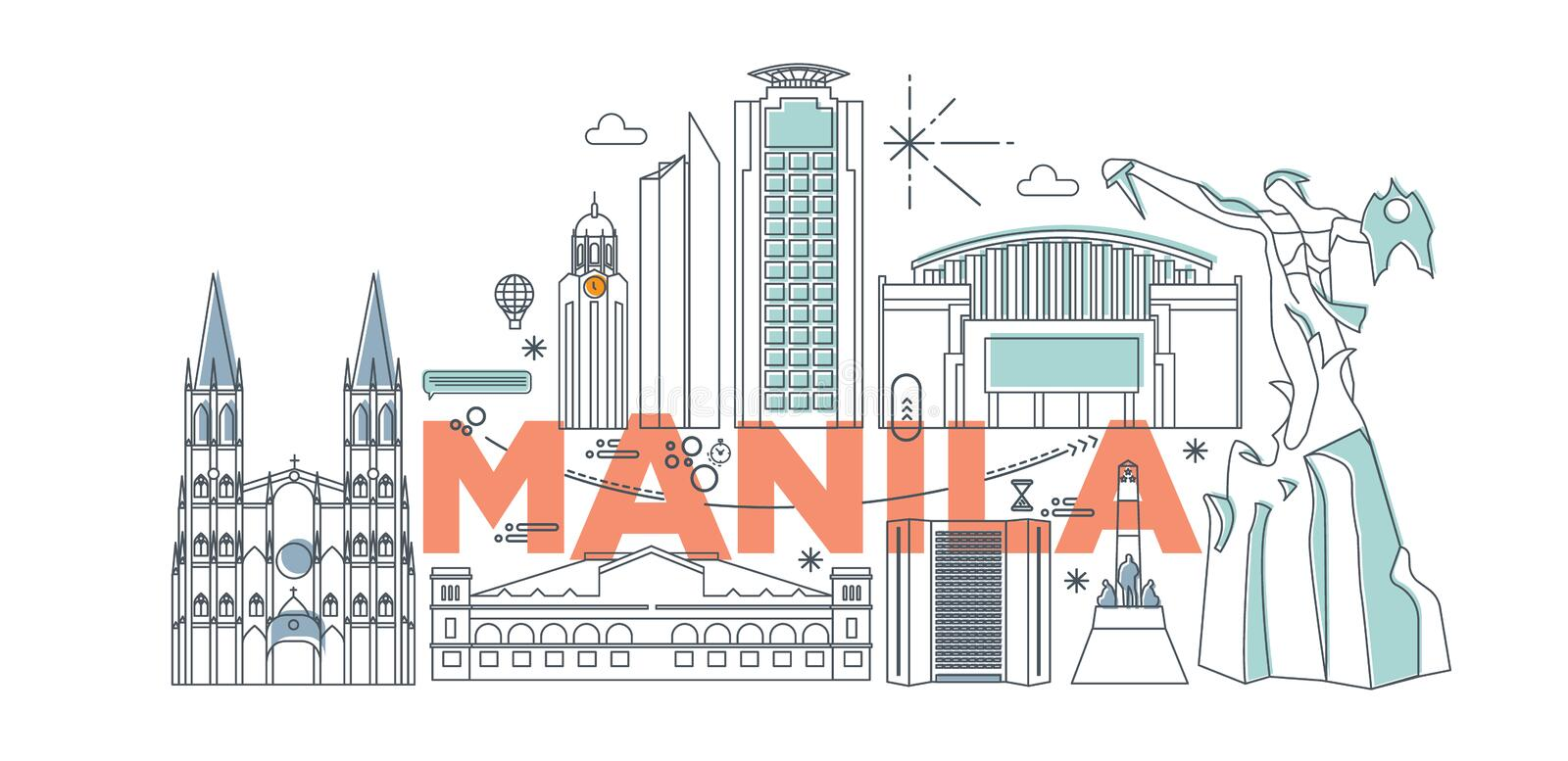 Manila cartoon travel map vector illustration. Typography word Manila branding technology concept. Collection of flat vector web icons. Asian culture travel set vector illustration