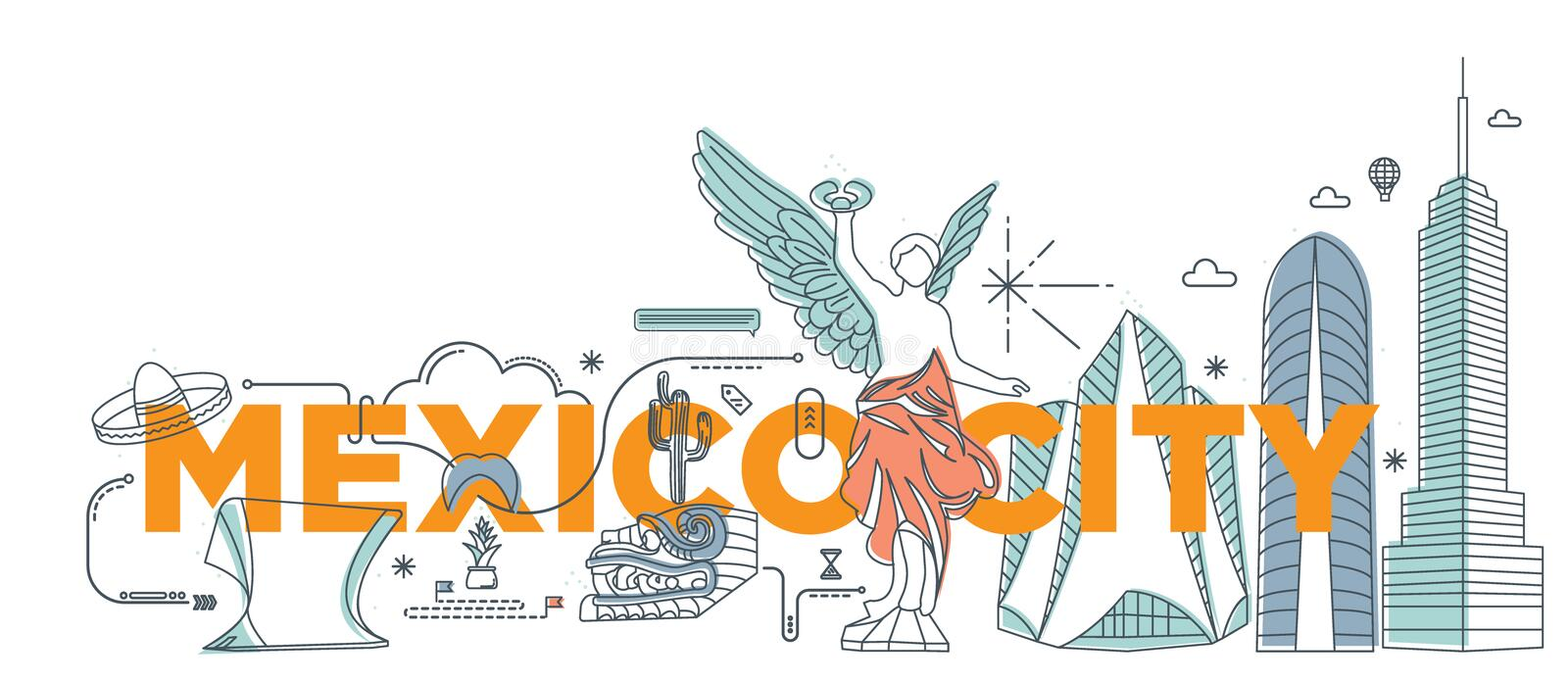 Typography word `Mexico City` branding technology concept. vector illustration