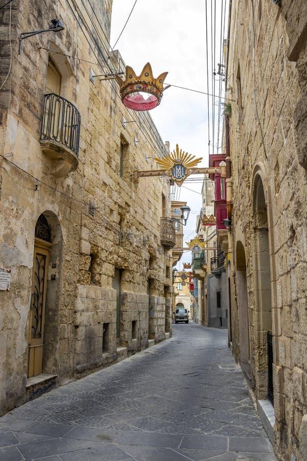 Typowa dekorująca ulica w Rabat, Malta, szczegół zdjęcie stock