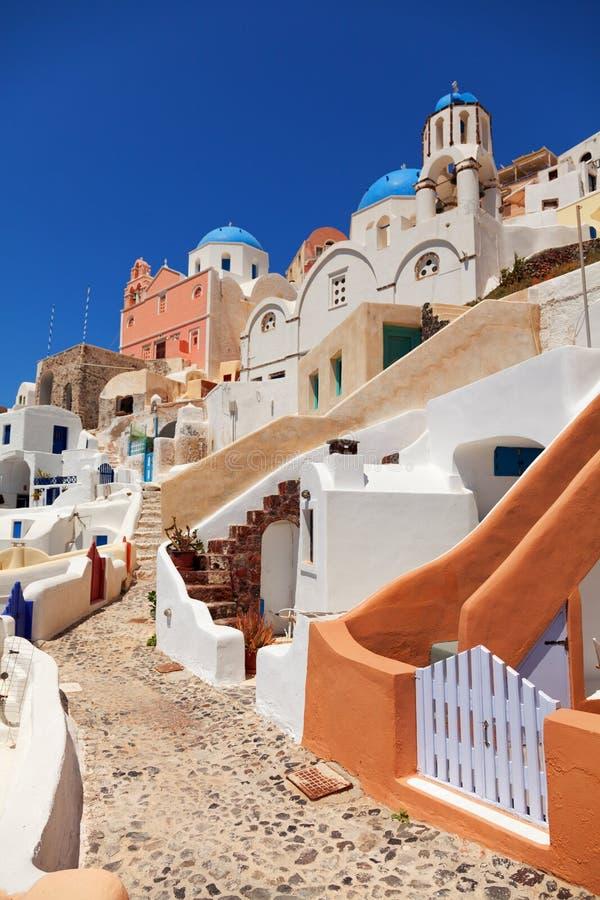 Typowa Santorini ulica zdjęcia royalty free