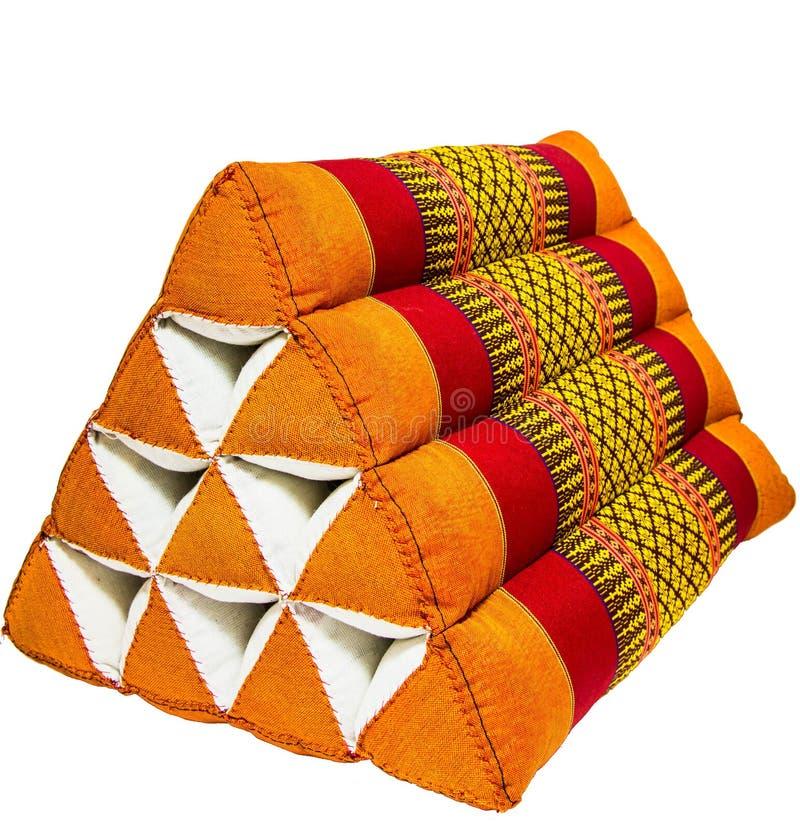Typowa Tajlandzka stylowa poduszka odizolowywająca na białym tle zdjęcia royalty free