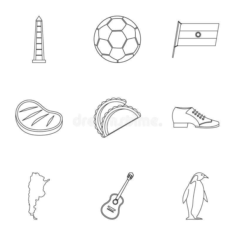Typowe Argentyna ikony ustawiać, konturu styl royalty ilustracja