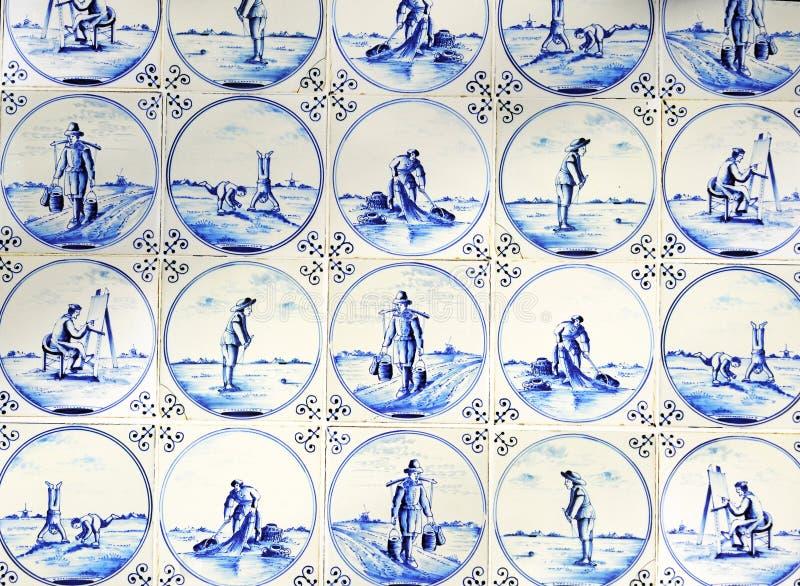 Typowe błękitne Delft płytki fotografia stock