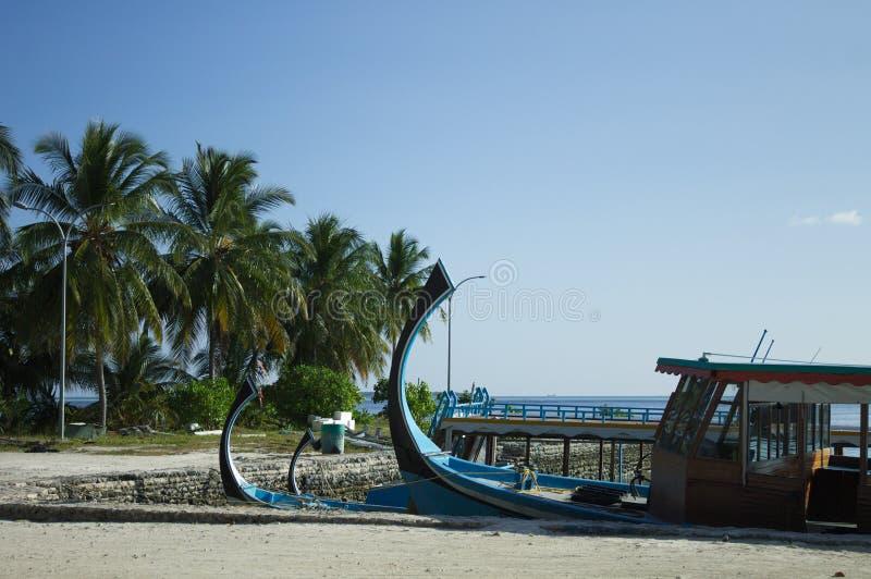 Typowe maldivian łodzie dzwonili «Dhoni «w schronieniu z palmy tłem obraz stock