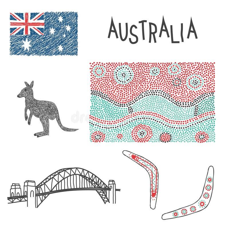 typowi australijscy symbole z aborygenu wzorem ilustracja wektor