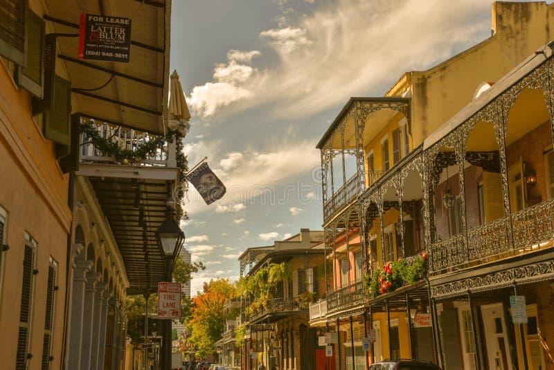 Typowi domy w dzielnicie francuskiej Nowy Orlean (usa fotografia stock
