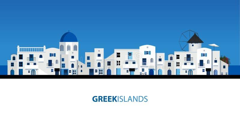 Typowi Greccy wyspa domy Niebieskie niebo i morze na tle zdjęcia royalty free