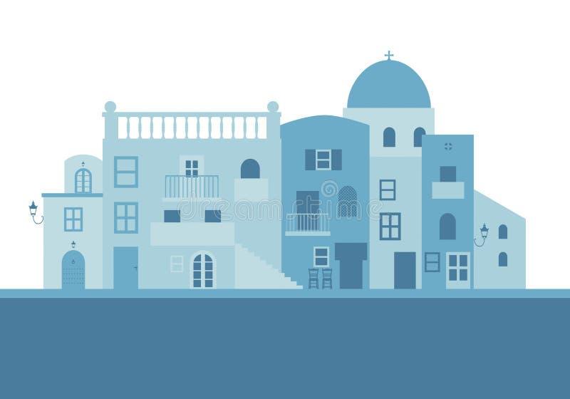 Typowi Greccy wyspa domy w błękicie na białym tle ilustracja wektor