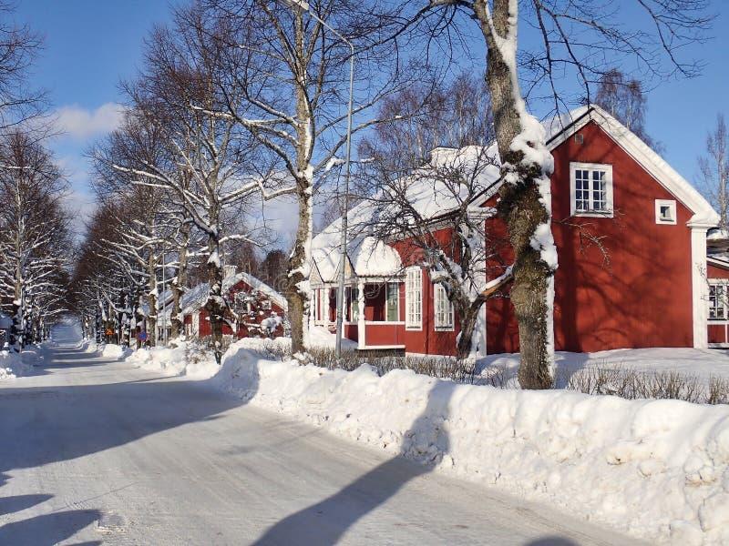 Typowi starzy budynki w Sörforsa, Hudiksvall - obraz royalty free