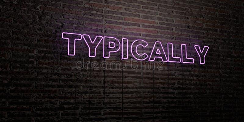 TYPOWO - Realistyczny Neonowy znak na ściana z cegieł tle - 3D odpłacający się królewskość bezpłatny akcyjny wizerunek royalty ilustracja
