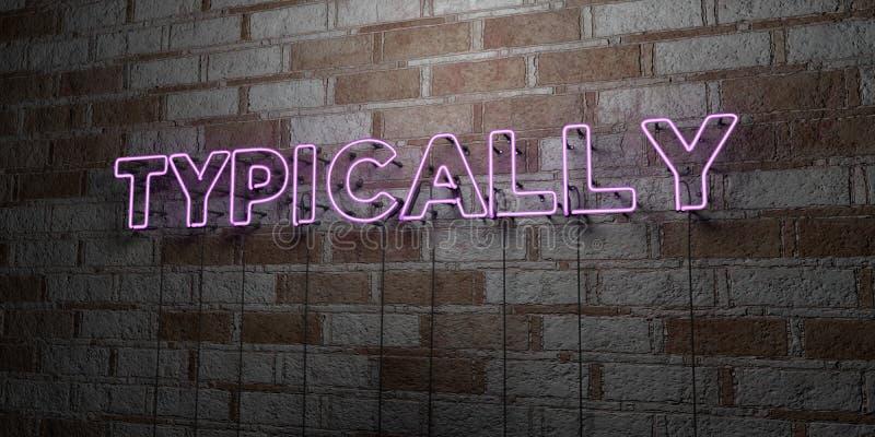 TYPOWO - Rozjarzony Neonowy znak na kamieniarki ścianie - 3D odpłacająca się królewskości bezpłatna akcyjna ilustracja royalty ilustracja