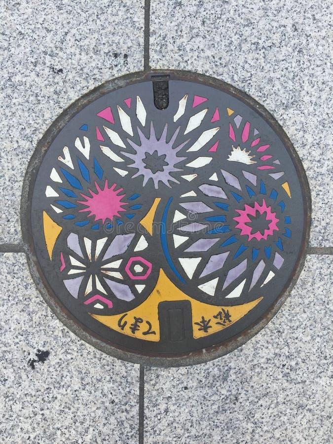 Typowy barwiony japoński manhole Nagano miasto zdjęcia stock