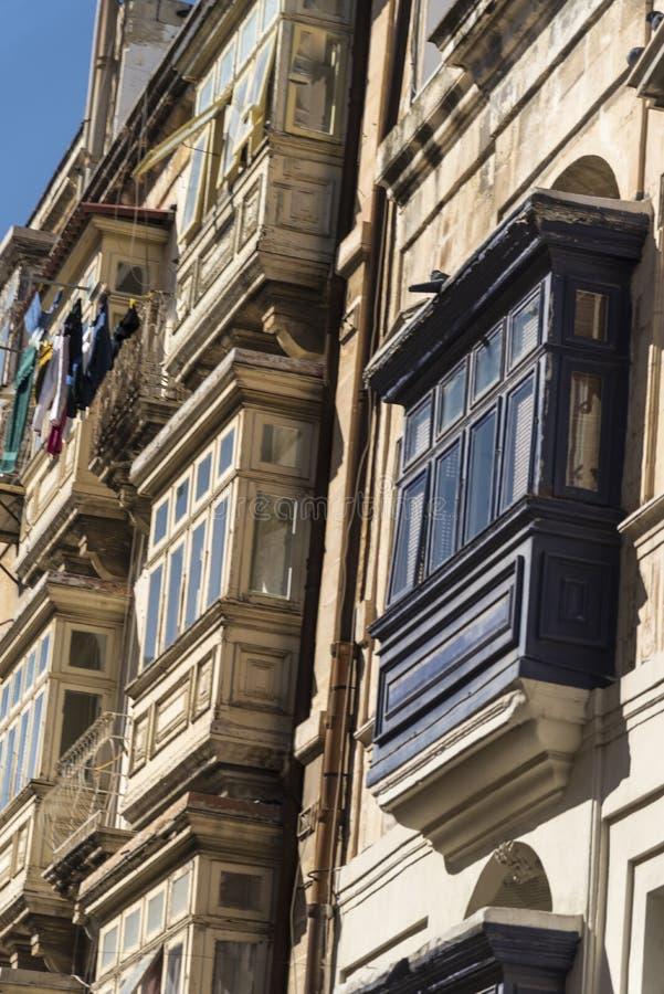 Typowy budynku szczegół w Valletta Malta zdjęcie royalty free