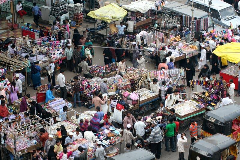 Typowy indyjski uliczny rynek, Hyderabad, India fotografia royalty free