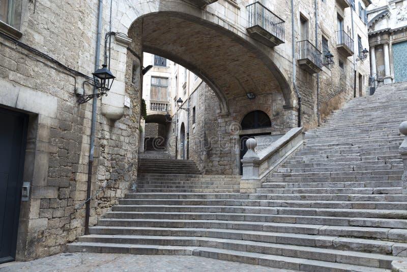 Typowy kąt stara ćwiartka Girona, Catalonia, Hiszpania obraz stock