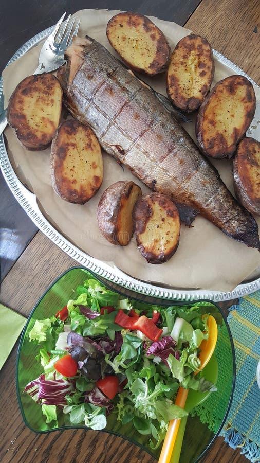 Typowy lata naczynie w Finlandia z uwędzoną rybą, grulami i świeżą sałatką, fotografia royalty free
