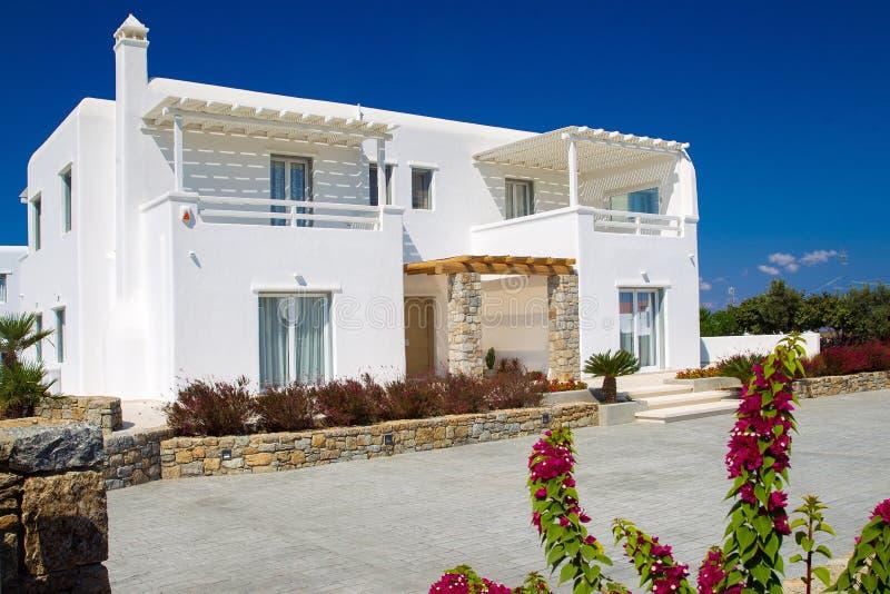 Typowy mały hotel na greckich wyspach obrazy royalty free