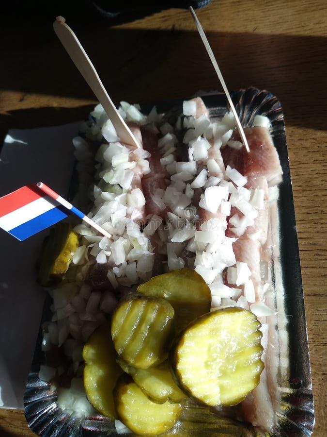 Typowy naczynie Amsterdam Holenderski śledziowy surowy, świeży, świeżo złapany, słuzyć wraz z plasterkami ogórek i kawałki biały  obrazy royalty free
