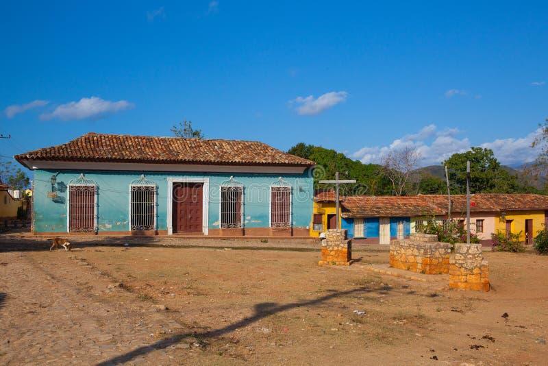 Typowy stary kolonisty kwadrat w Trinidad, Kuba obraz stock