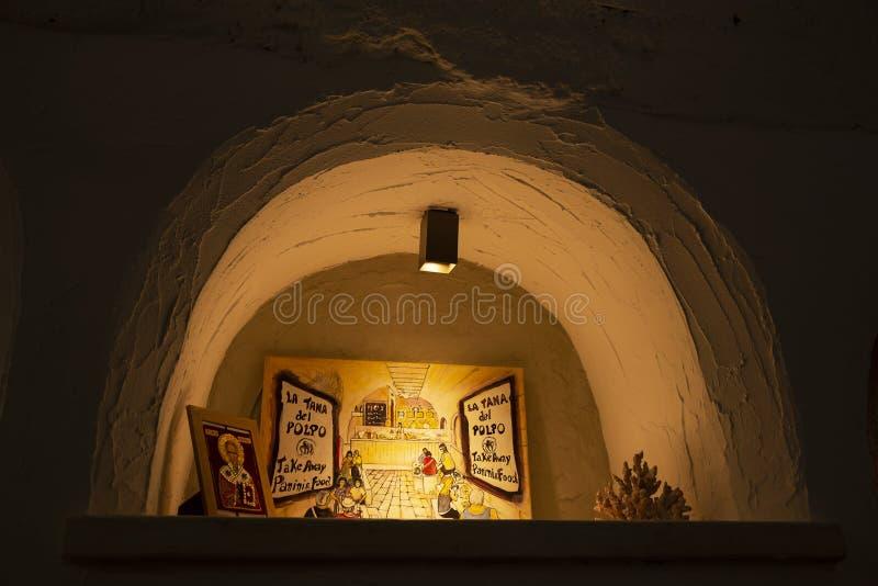 Typowy Włoski kuchni miejsce, Losu Angeles Taniec Del Polpo restauracja w Bari zdjęcie stock