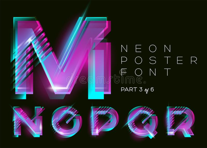 Typsatt vektorneon Glänsande rosa färgbokstäver Fluorescerande tekniskt fel vektor illustrationer