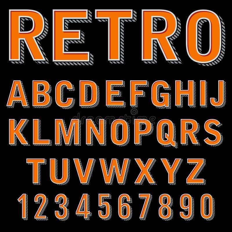 Typsatta för tappning 3 dimensionell retro stilsort, vektorbokstäver och nummer, dekorativ typ, tecknad filmalfabet royaltyfri illustrationer