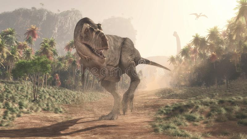 Tyrannosarie Rex i djungeln royaltyfria foton