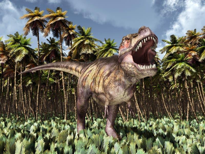 Tyrannosarie Rex i djungeln vektor illustrationer