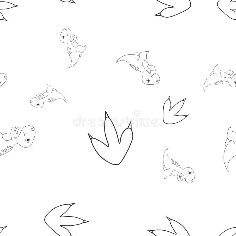 Tyrannosaur and footprint seamless pattern vector illustration