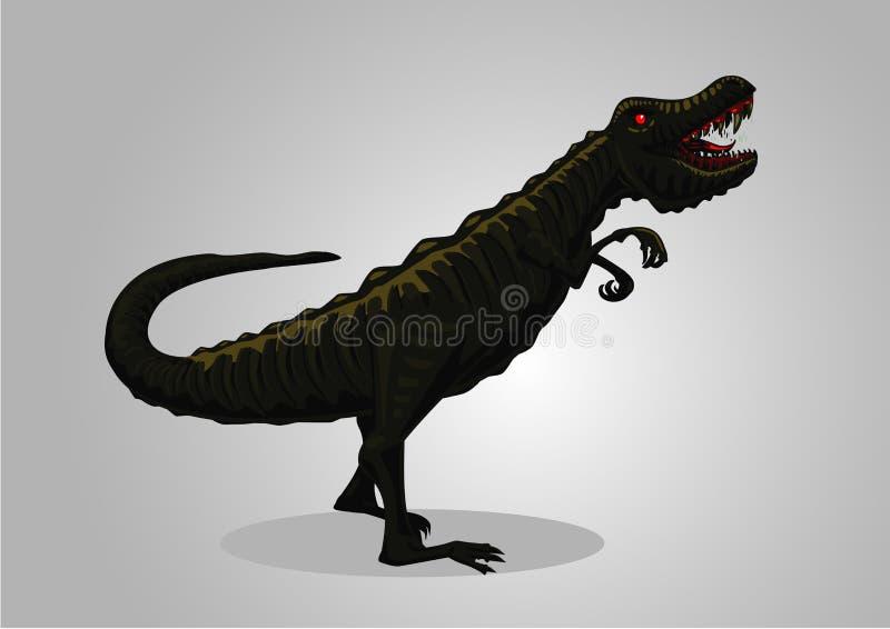 Tyrannosaure de dinosaure d'isolement sur le blanc Personnage de dessin animé de tyrannosaure Trex de vecteur illustration libre de droits