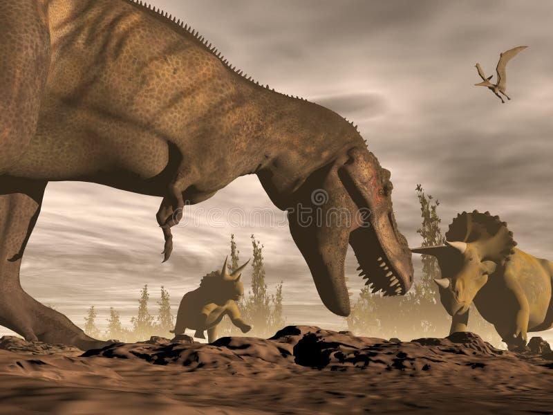 Tyrannosaure hurlant au triceratops - 3D rendent illustration libre de droits
