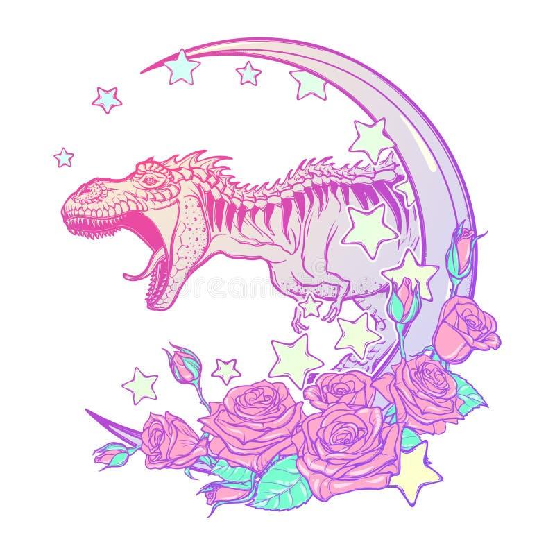 Tyrannosaure hurlant avec le cadre de lune et de roses d'isolement sur le blanc illustration de vecteur