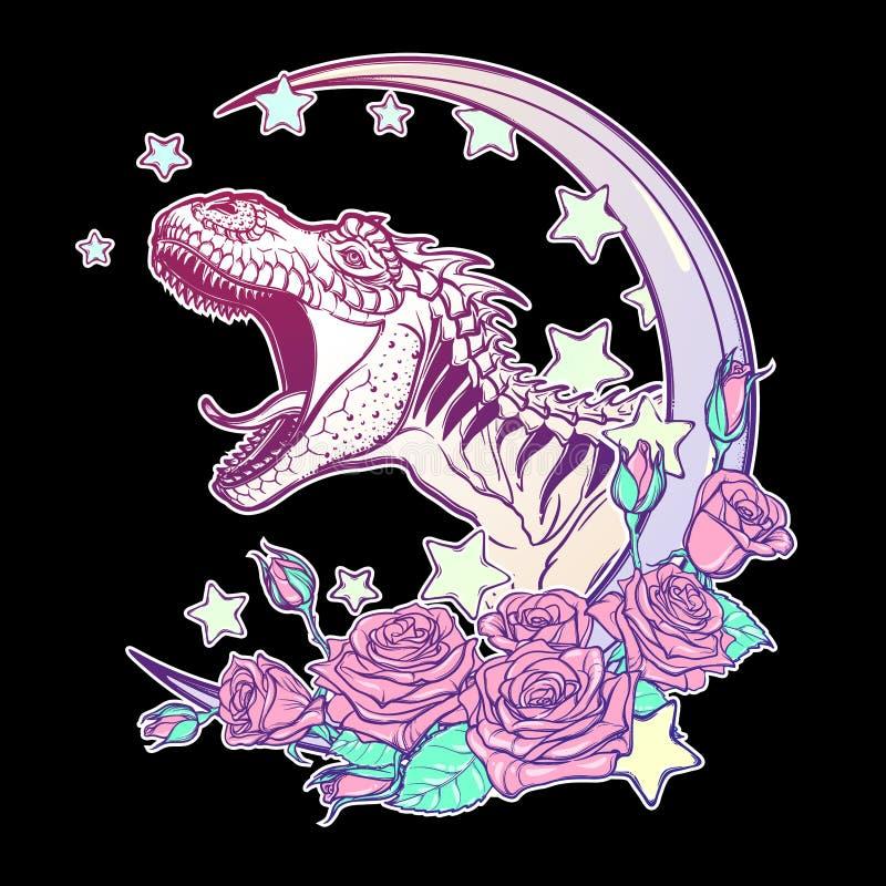 Tyrannosaure hurlant avec le cadre de lune et de roses d'isolement sur le noir illustration de vecteur